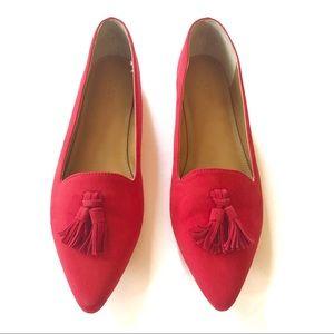 J. Crew Edie microsuede red tassel loafer flats 9